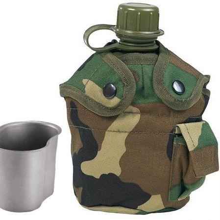 Polní láhev US ARMY s pítkem woodland camo