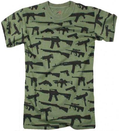 Tričko ROTHCO® GUNS oliva