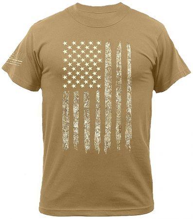 Tričko ROTHCO® DISTRESSED US FLAG coyote