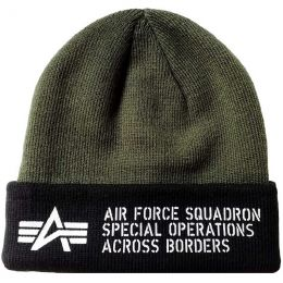 Čepice ALPHA INDUSTRIES AIR FORCE BEANIE tm.zelená
