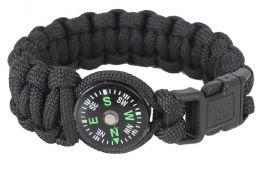 Náramek ROTHCO® PARACORD s kompasem černá