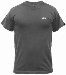 Tričko ALPHA INDUSTRIES BASIC malé logo šedočerná