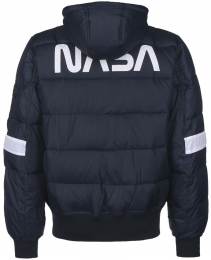 Bunda ALPHA INDUSTRIES HOODED PUFFER FD NASA repl.blue
