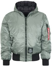Bunda ALPHA INDUSTRIES HOODED PUFFER FD REV. vintage green