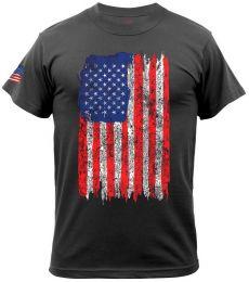 Tričko ROTHCO® DISTRESSED US FLAG černá & barevná vlajka